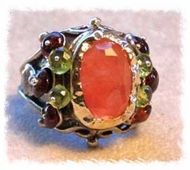 Queen Cherry Quartz Peridot  Garnet unique Ring