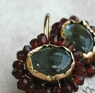 Queen earrings gold silver Garnet  labradorite designer