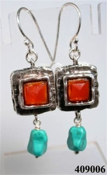 Red and turquoise sterling silver earrings