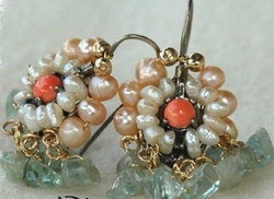 Red coral and pearls romantic earrings