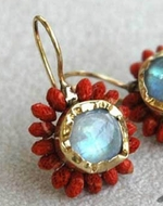 Red Corals and Moonstone earrings designer jewellery