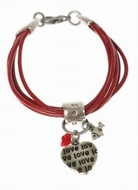 Red leather bracelet love heart charms