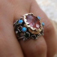 Ring In Gold & Silver Cherry Quartz & Gemstones