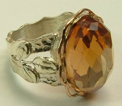 Ring silver gold Champagne stone