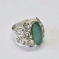Ring silver with roman glass