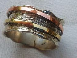 Ring spinner band silver gold unisex
