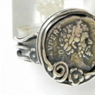 Roman coin ring sterling silver