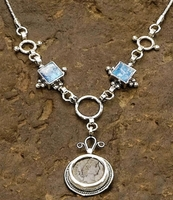 Roman glass ancient coin Israeli silver necklace