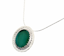 Roman Glass artistic jewelry |necklace pendant | sterling silver
