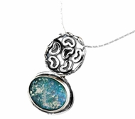 Roman Glass artistic jewelry |necklace sterling silver