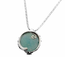 Roman Glass artistic jewelry | silver necklace