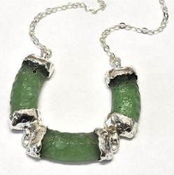 Roman glass artistic necklace - sterling silver jewelry