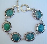 Roman glass bracelet sterling silver