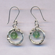 Roman glass dangling silver earrings