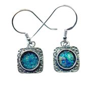 Roman glass earrings sterling silver israeli jewelry