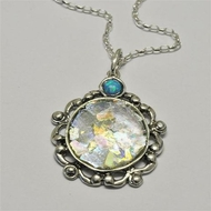 Roman glass elegant necklace sterling silver