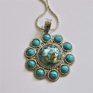 Roman glass elegant sterling silver necklace set with turquoises