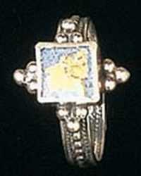 Roman glass filigree silver ring