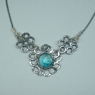 Roman glass flower necklace for woman