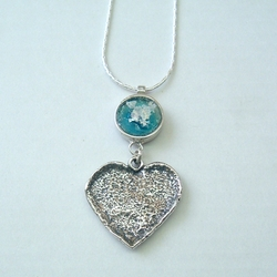 Roman glass heart necklace made in Israel