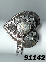 Roman glass heart shaped silver ring