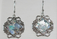Roman glass israeli earrings sterling silver flowers