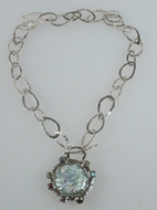 Roman glass jewelry necklace sterling silver and gemstones.