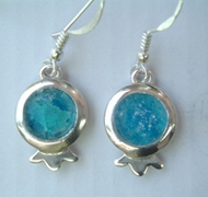 Roman glass pomegranate earrings sterling silver