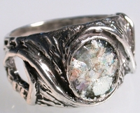 Roman glass ring sterling silver 925 jewelry