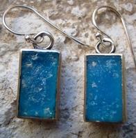 Roman glass silver earrings made in Israel