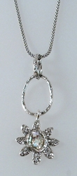 Roman glass silver flower necklace