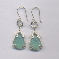 Roman glass sterling silver earrings. Dangle earrings. Vidrio Romano