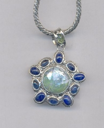 Roman glass sterling silver necklace set with Lapis gemstones