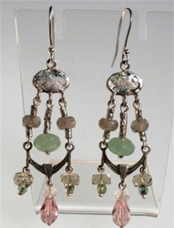 Roman glass unique earrings with labradorite and amazonite gemstones