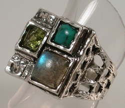 Roman glass and turquoise unique ring made in Israel