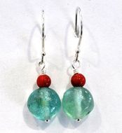 Roman Glass earrings with corals