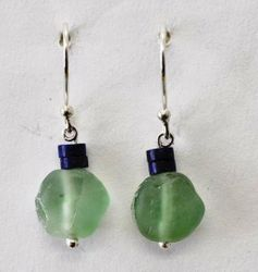 Roman Glass earrings with Lapis beads