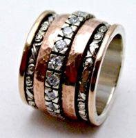 Cubic  zirconia ring  | cz ring | silver & rose gold cocktail ring