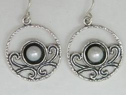 Round dangle pearls silver earrings