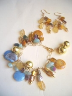Semi Precious stones and gold filled parts bracelet and Earrings