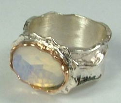 Semi precious stones Israeli silver and gold ring