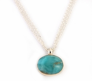 Silver and 9 carat gold  necklace set with larimar