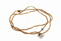 Silver and braided necklace blessed heart