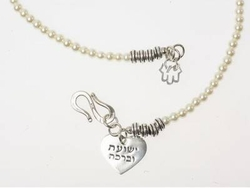 Silver and Crystal Pearl Necklace Salvation and Blessing jewel
