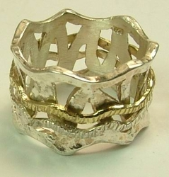 Silver and gold  Israeli Spin Ring