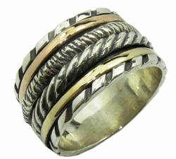 Silver and gold spinner ring artistic boho design