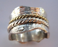 Ring Sterling Silver and Gold spinning ring Israeli  Meditation Rings