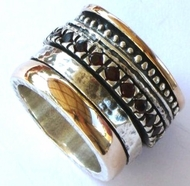 Silver and gold spinning ring Israeli designer