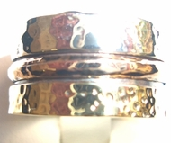 Silver and gold spinning ring Israeli designer jewelry