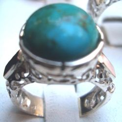 Silver and gold turquoise ring made in Israel